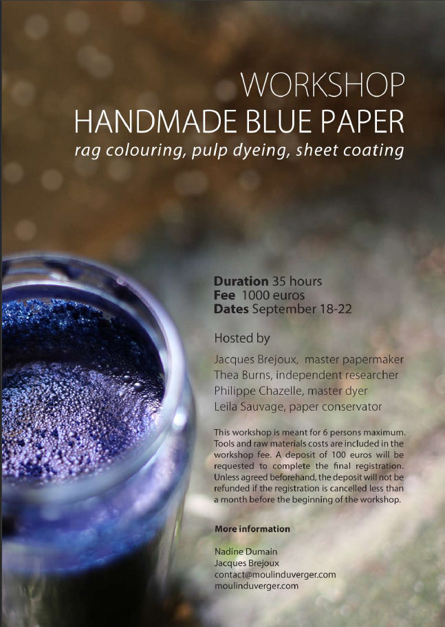 Affiche du workshop Handmade blue paper